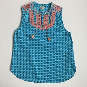 J Crew Embroidered Tank Top